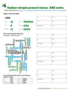 Preview of Italian simple present tense -ERE verbs review and conjugation tables by ab for viaoptimae.com
