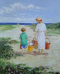 A Day at the Beach, Nantucket by Sally Swatland - 30 x 24 inches Signed impressionist beach scenes children playing contemporary american chase pothast