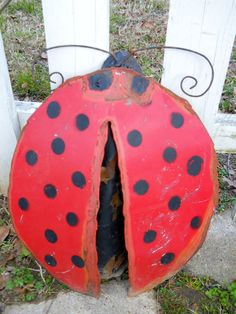 Metal Ladybug Yard Ornament