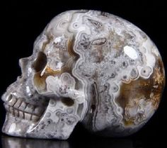 Gorgeous Crazy Lace Agate carved skull heart emoticon  - https://www.pinterest.com/pin/230809549626249215/   via Stirr of Echoes FB