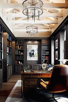 Spectacular library and home office for him it's definitely on the masculine side and recently done so superb.