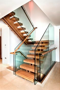 Double central spine staircase : modern Corridor, hallway & stairs by Smet UK - Staircases