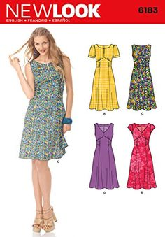 Using this pattern - Simplicity : 6183 Misses' Retro Style Dress Misses' knee length dress with back zipper has empire waist, princess-seamed trumpet skirt and V or round neckline with front slit. Sleeve options include cap or short sleeves. New Look Dress Patterns, New Look Dresses, Dress Sewing Patterns, Trendy Dresses, Vintage Sewing Patterns, Clothing Patterns, Pattern Dress, Women's Dresses, Sewing Clothes