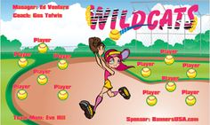 Wildcats digitally printed vinyl Softball sports team banner. Made in the USA and shipped fast by Banners USA. http://www.bannersusa.com/art/templates_2/digital/banners/DSB_banners.php