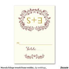 Marsala foliage wreath frame wedding place card table cards