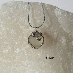 Clear Sea Glass Necklace, Wire Wrapped White Seaglass Pendant by Nevar