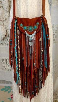 Handmade Brown Suede Fringe Bag Cross Body Hippie Boho Hobo Gypsy Purse tmyers… by batjas88