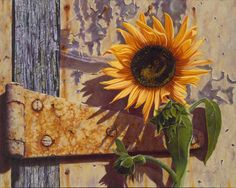 The Old Factory Sunflower | A painting by Camille Engel, contemporary realist
