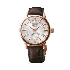 Shop for Seiko Men's 'Presage' Brown Leather Watch. Get free delivery On EVERYTHING* Overstock - Your Online Watches Store! Seiko Presage, Stainless Steel Types, Stainless Steel Bracelet, Fine Watches, Watches For Men, Baselworld 2017, Brown Leather Watch, Affordable Watches, Seiko Men