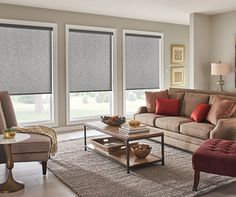 Need some inspiration for your living room windows? Check out the Gotcha Covered idea gallery for ideas on custom blinds, shades, and more. Window Treatments Living Room, Living Room Windows, Custom Blinds, Gallery, Ideas, Thoughts