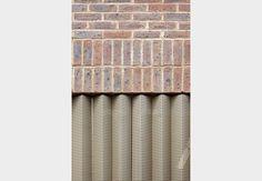 Brick and perforated metal, Brentford Lock West by Duggan Morris Metal Facade, Metal Cladding, Metal Screen, Brick Facade, Brick Wall, Metal Panels, Detail Architecture, Brick Architecture, Interior Architecture