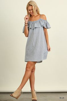 Striped Off the Shoulder Ruffle Dress