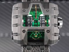 Rebellion Timepieces at this level of watchmaking, personalization comes with the territory: T-1000 Gotham with a green treated movement.