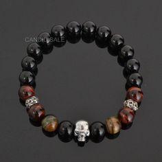Black Eye Skull 925 Sterling Silver ONYX & Tiger s eye Gemstone Mens…