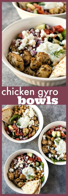 Chicken Gyro Bowls Mixed greens are topped with Greek chicken chickpeas tomato cucumber salad feta cheese and a homemade tzatziki sauce recipe chicken greek garbanzobeans tomato cucumber salad bowl feta marinade easy healthy Homemade Tzatziki Sauce, Sauce Tzatziki, Recipes With Tzatziki Sauce, Sauce Recipes, Drink Recipes, Chicken Gyros, Salad Chicken, Chicken Pasta, Food Dinners