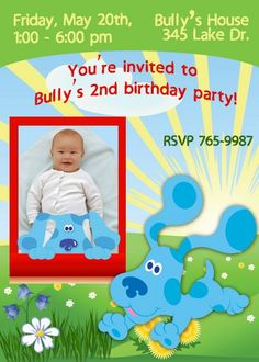Blues Clues Invitations birthday invitations Printable Invitations diy Invitations Children custom Invitations