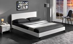Pat tapitat cu piele ecologica Pago White #homedecor #inspiration #interiordesign #house #black #white #decoration Leather Bed Frame, Tree Furniture, Bedroom Bed, Pu Leather, House Design, Interior Design, Modern, Inspiration, Home Decor