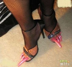 Epic WTFs - Funny Pictures, Videos, and Pranks Poorly Dressed, Que Horror, Long Toenails, People Of Walmart, Fashion Fail, Toe Nails, Dumb And Dumber, You Nailed It, Stiletto Heels
