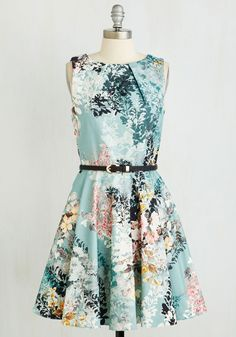 Luck Be a Lady Dress in Sage Bouquet. If youve been searching for a charming new frock, then youre in luck! #green #modcloth