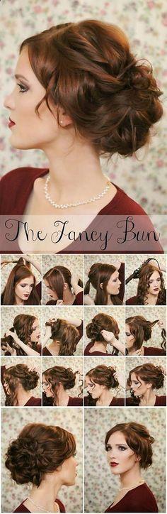 fancy bun step by step