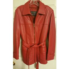 """Red Leather Jacket This mint condition, Vintage, Beautiful Red jacket is made of Soft and thick high quality leather with """"Leather Limited"""" makers trademark label. The Thermolite Active Insulated liner zips out if needed. 2 Front pockets and a complementary red leather belt You will not find another Vintage Soft Leather jacket in Red, like this one, in Mint Condition, no where.  A True Size Medium Vintage Jackets & Coats"""