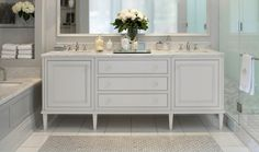 Downsview Kitchens: White and gray master bathroom with light gray walls and marble mosaic inset floor ...