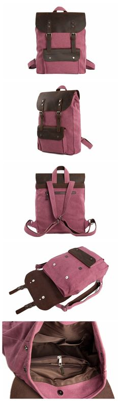 15 Inch Canvas Leather Backpack Casual Backpack Rucksack School Backpack