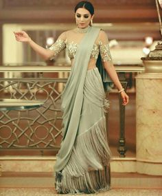 Ruffle Saree Style is the Hottest Trend of this Season 2018 Drape Sarees, Saree Draping Styles, Saree Styles, Sari Design, Indian Wedding Outfits, Indian Outfits, Wedding Dresses, Western Dresses, Indian Dresses