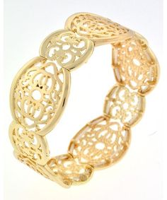 443714 Gold Tone Metal / Lead&nickel Compliant / Filigree / Stretch Bracelet