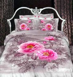 Fantastic Big Pink 3D Peony Print 4 Piece Duvet Cover/Bedding Sets #beddingset #duvetcoverset Live a better life start with @beddinginn