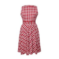 Rotita Sleeveless Plaid Print A Line Dress (€27) ❤ liked on Polyvore featuring dresses, red, red print dress, vintage print dress, a line dress, red a line dress and red plaid dress