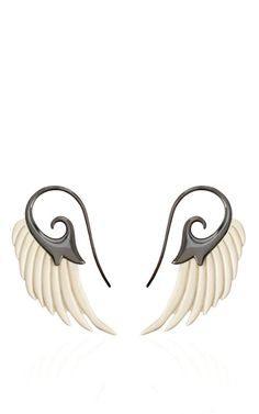 Fly Me To The Moon Mammoth Wing Earrings by Noor Fares