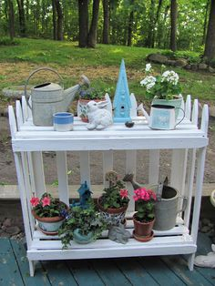 My Shabby Chateau: Picket Fence Plant Stand. For the patio!