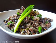 Black Beans & Rice with a lime vinaigrette. Can also be a main course (especially if you decide to add the optional ground beef).