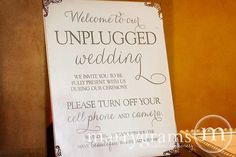 Need to order something like this.........Unplugged Wedding Ceremony Sign Sign - Turn Off Cell Phone Signage - Matching Table Numbers - Wedding Guest Card SS01