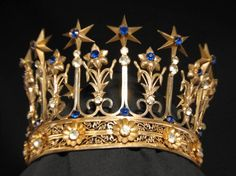 Antique French Gilt Brass Jeweled Saint Santos Altar Crown Tiara of Stars, Circa 1860-80