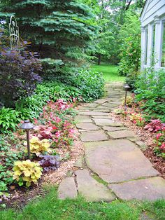 Different varieties of coral bells (heuchera) lining this stone path, layered with mid-height hostas behind them and taller bushes behind the hostas.  And a few staggered lights.