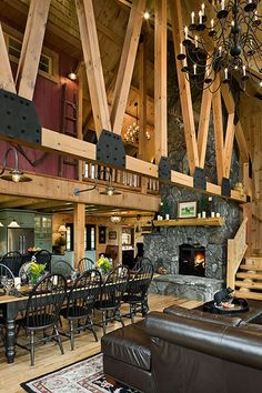 Log Homes & Cabins - Coventry Log Homes - The Bear Rock rustic dining room. A dramatic and slightly industrial look. Log Home Kitchens, Rustic Kitchens, Rustic Homes, Log Home Interiors, Rustic Kitchen Design, Rustic Design, Cabin In The Woods, Log Cabin Homes, Log Cabins