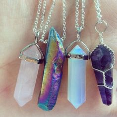 wrapped quartz necklaces