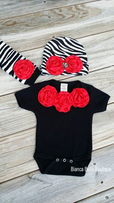 Baby Girl Black and Red Zebra Onesie Hat by BiancaBellaBoutique, $34.00