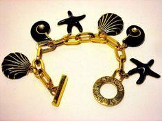 """St. John Bracelet Shell Blue Gold Chain 8"""" #StJohn #Chain"""
