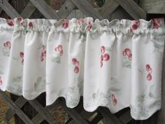 Country Retro Kitchen Window Curtain Valance in Waverly Cherry Blossom Fabric with Scalloped Bottom. $28.00, via Etsy.