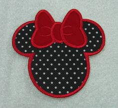 Minnie Mouse Silhouette Fabric Embroidered Iron On Applique Patch Ready to Ship. $5.00, via Etsy.