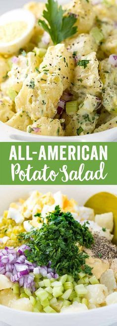 Potato Salad A creamy All-American potato salad recipe perfect for summer barbecues and picnics. Tender russet potatoes and traditional ingredients for a tasty side dish. via creamy All-American potato salad recipe perfect for summer barbecu Russet Potato Recipes, Potato Dishes, Food Dishes, Dinner Dishes, Russet Potato Salad Recipe, Healthy Recipes, Salad Recipes, Vegetarian Recipes, Cooking Recipes