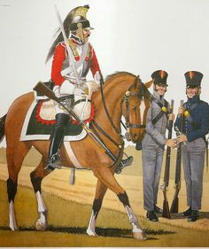 A trooper of the Spanish Cuirassiers 1810-11 and fusiliers from the North of Spain, their Shakos, equipment and uniforms were provided by Britain