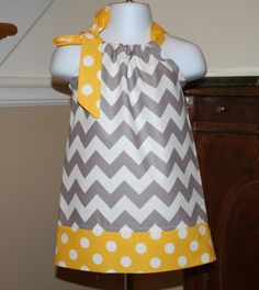 gray grey spring chevron Pillowcase dress riley blake yellow white polka dot toddler easter dress 3, 6, 9, 12, 18 mo 2t, 3t, 4T via Etsy