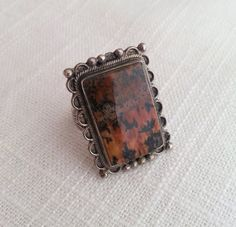 Vintage 1970s Southwestern/Mexican Style Silver and Agate Ring by shopFiligree, $52.00