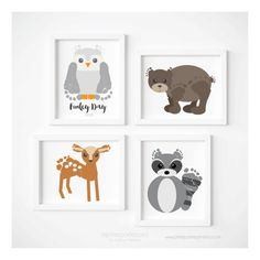 Woodland Nursery Decor Art Print Set Baby Footprint Bear Owl