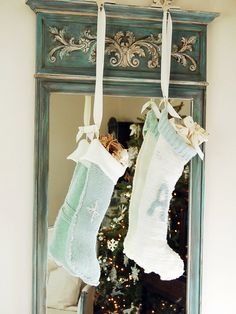 No-Sew, Recycled Sweater Stockings. So easy! http://www.hgtv.com/handmade/how-to-make-no-knit-christmas-sweater-stockings/index.html?soc=pinterest