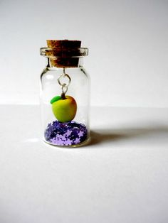 Miniature apple in glass bottle whimsical by AbsoKnittingLutely, £12.00